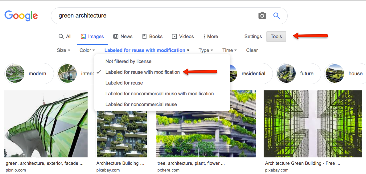Screen shot of Google Image search and limiting to those images labelled for reuse and modification