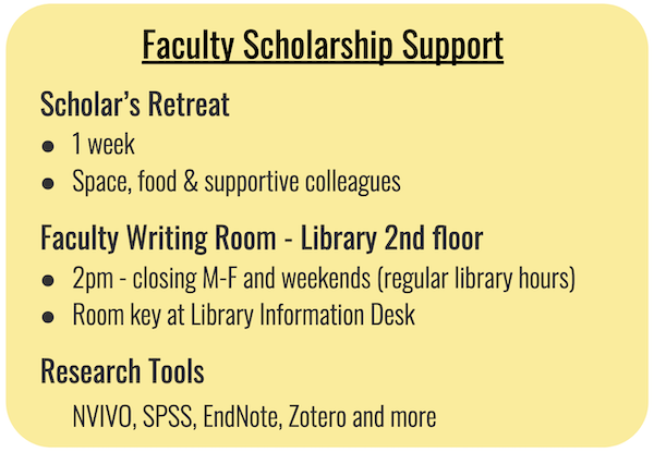Faculty support - Scholar's retreat, the writing room and research tools