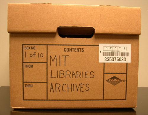 Image of a carton prepared for records storage.