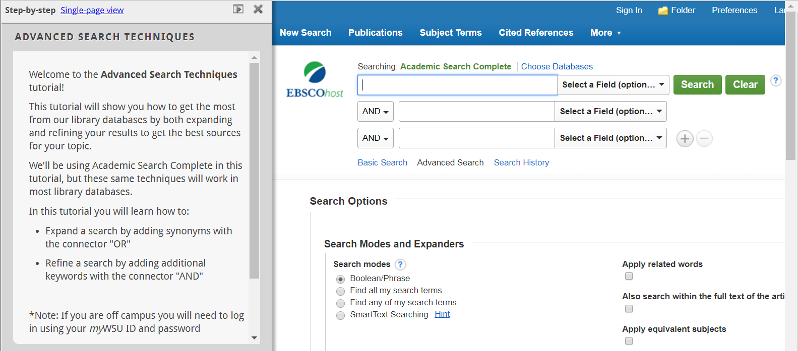 first screen of tutorial Advanced Search Techniques