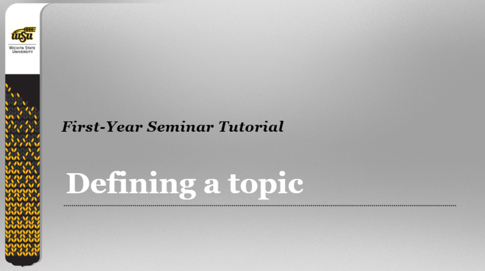 first slide in brief PowerPoint presentation about how to define a research topic.