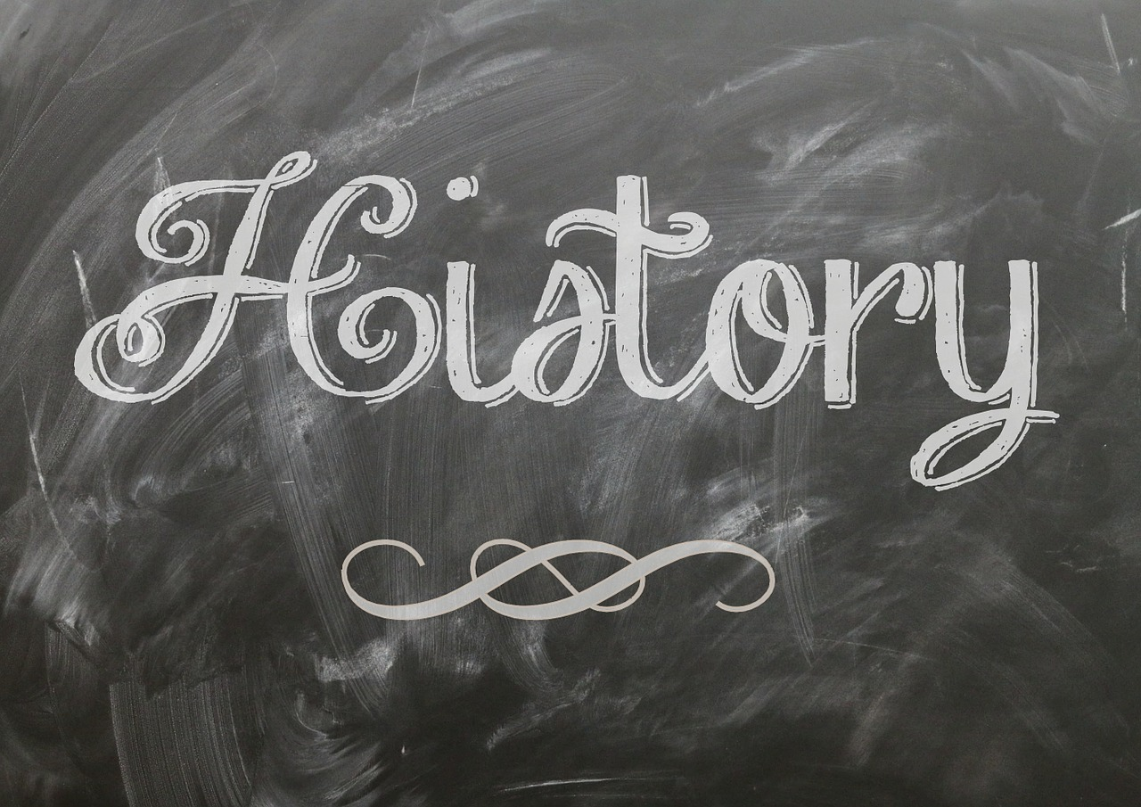 The word history on a chalk board
