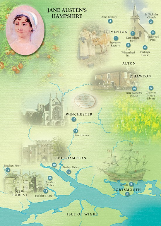 Illustration in pastel colors showing places of importance in Austen's life