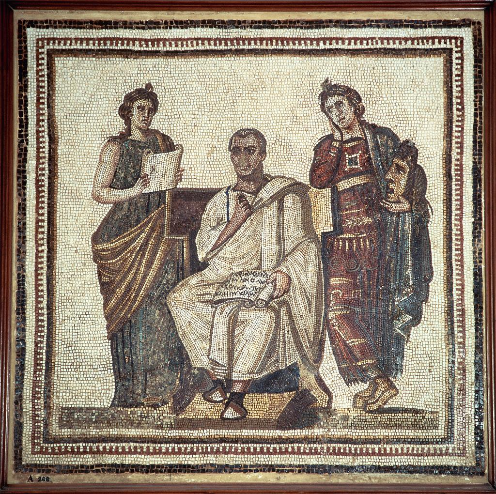 Mosaic depicting Virgil with the Muses Clio and Melpomeme.