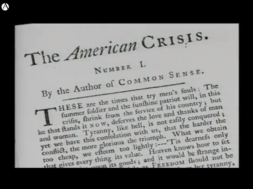Image of Thomas Paine's essay The American Crisis