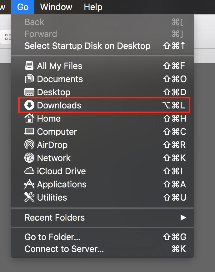 Downloads in the Finder Go menu