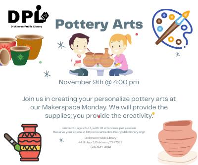 STEM Maker Space Mondays: Pottery Arts