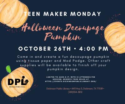 STEM Maker Space Mondays: Halloween Decoupage Pumpkin
