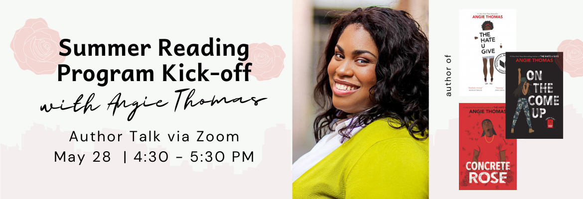 Virtual Zoom author talk Angie Thomas link open new window