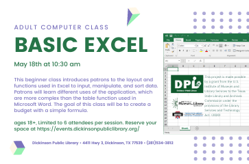 Adult Computer Class: Basic Excel