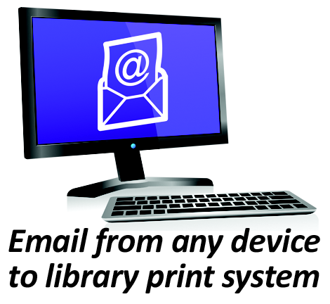 desktop computer with text reads email from any device to library print system.