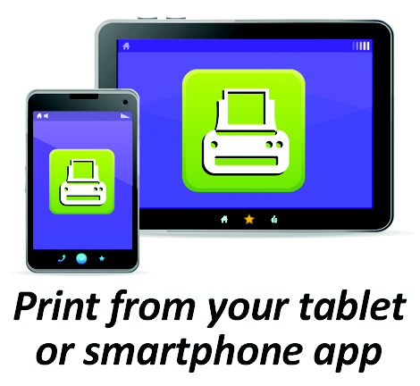 mobile tablet with texts that reads print from your tablet or smartphone app.