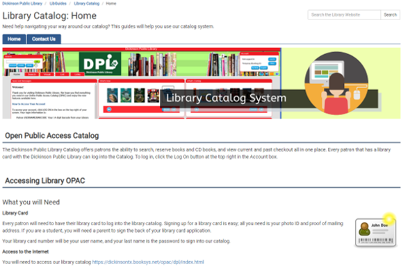 clickable screenshot of library catalog help guide.
