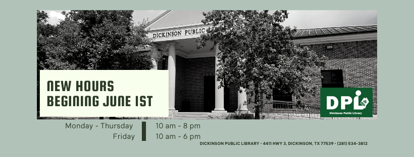 library new hours starting June 1st.