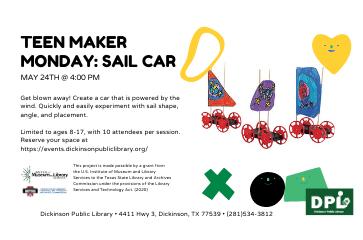 STEM Maker Space Mondays- Sail Car