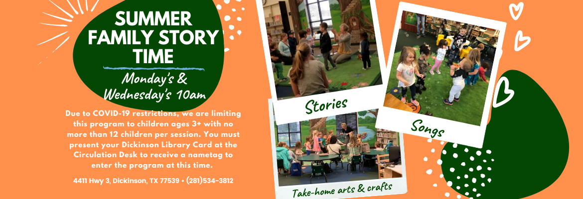 summer family storytimes monday and wednesday 10am