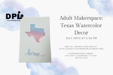 Adult Makerspace: Texas Watercolor Décor