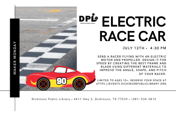 STEM Maker Space Mondays- Electric Race Car