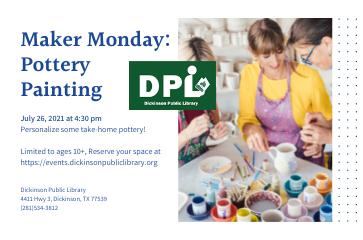 STEM Maker Space Mondays- Pottery Painting