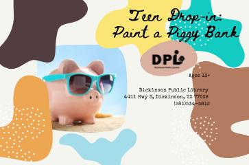 Teen Drop in- Personal Piggy Bank