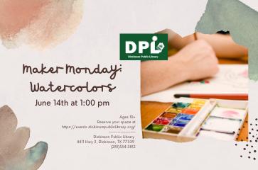 STEM Maker Space Mondays- Watercolor Painting