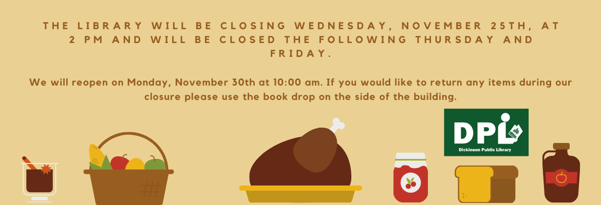 library closing at 2pm Wednesday 25,2020
