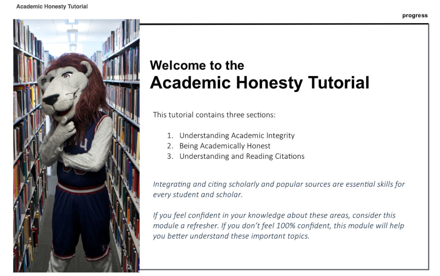screenshot of academic honesty tutorial home page