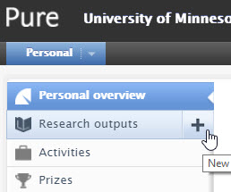 Plus sign next to Research Outputs in left navigation pane