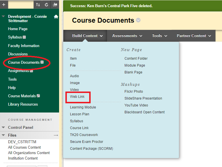 Course Documents and Web Link highlighted