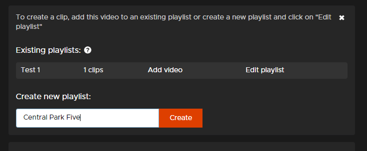 Screen shot of where to create new playlist