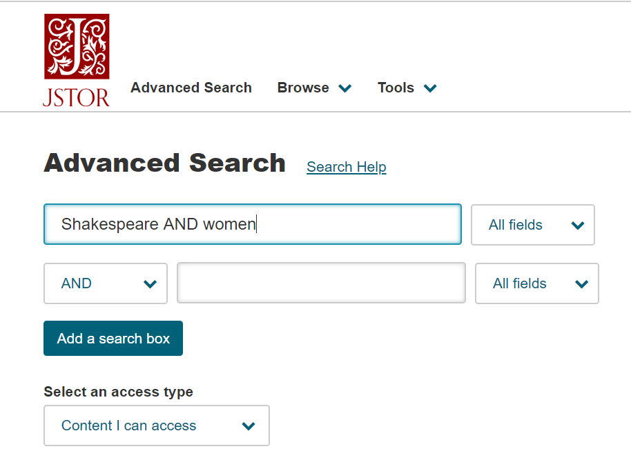 Image of JSTOR database's Advanced Search page