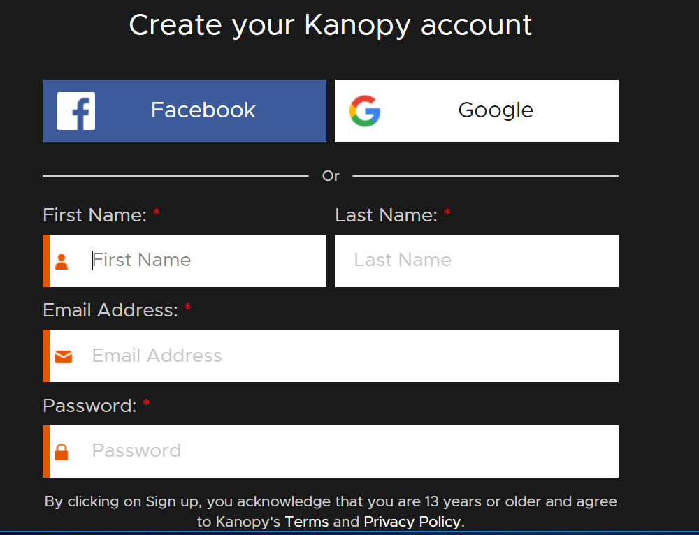 Kanopy registration form - name, username, password and email address
