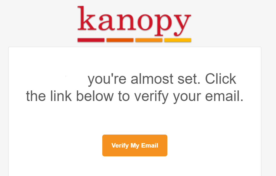 Email notice to confirm account in Kanopy