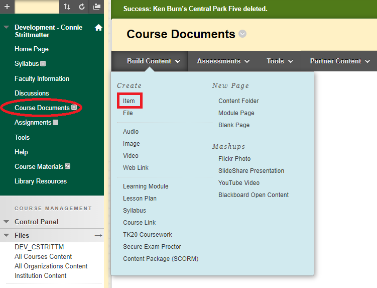 highlights course documents and item links