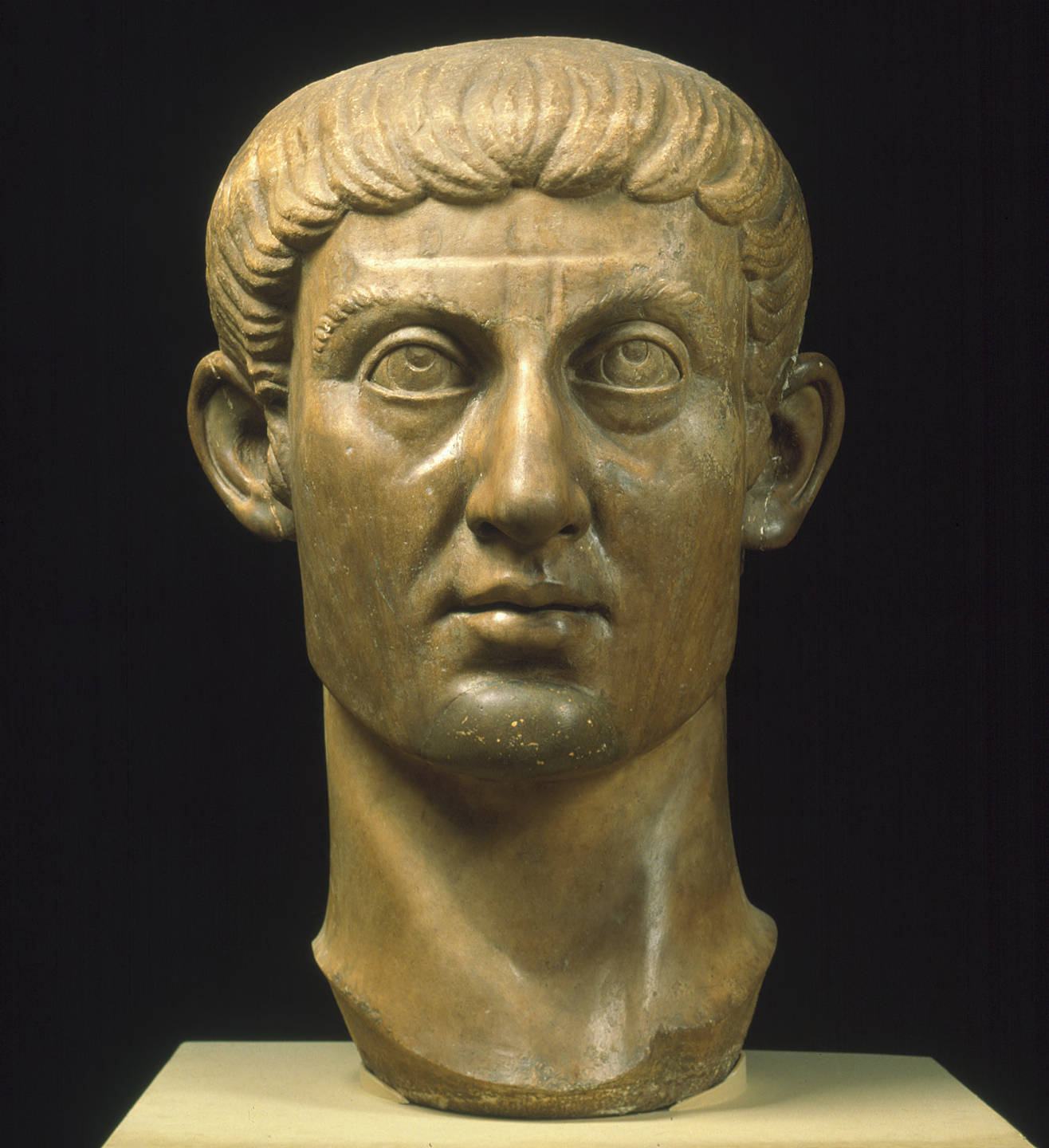 Stone carving of head of the emperor Constantine I