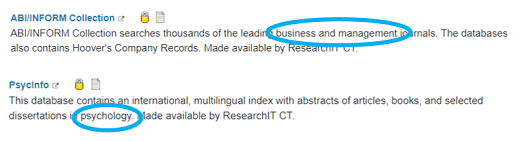 Screenshot of two database listings from database list. ABI/INFORM Collection description is shown with business and management circled. Psycinfo description is shown with psychology circled.