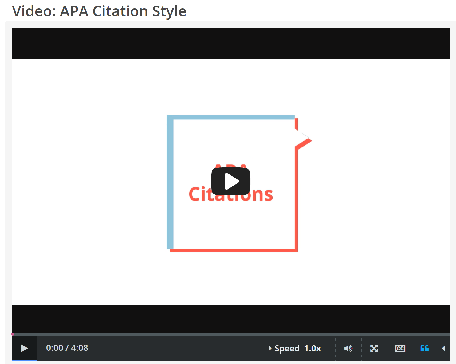 "CREDO InfoLit video, ""APA Citation Style"" screenshot"