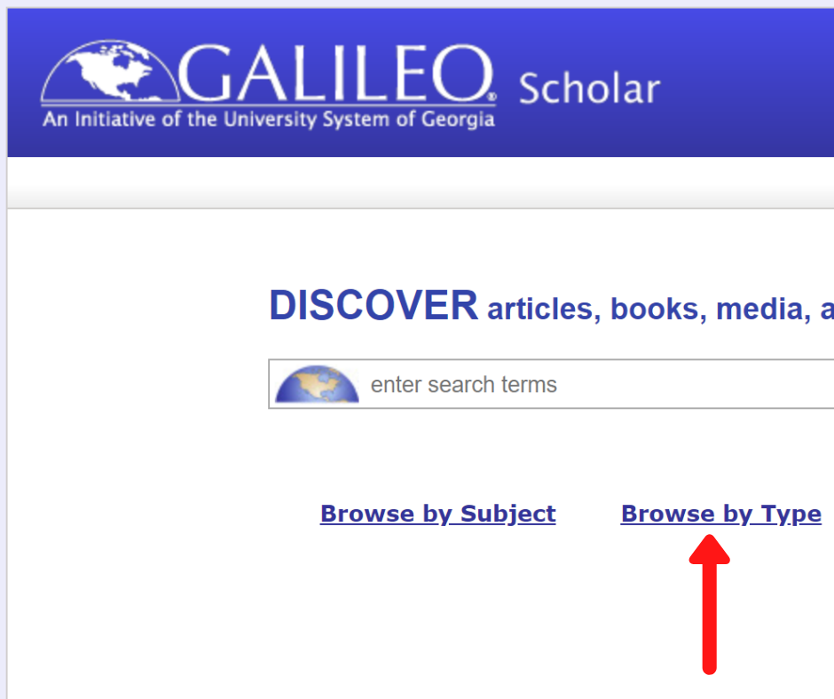Screenshot of GALILEO homepage with a red arrow pointing towards Browse by Type button
