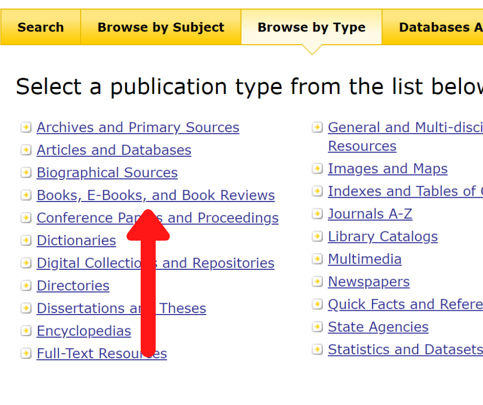 Screenshot of GALILEO browse by type page with a red arrow pointing to Books, E-Books, and Book Reviews link