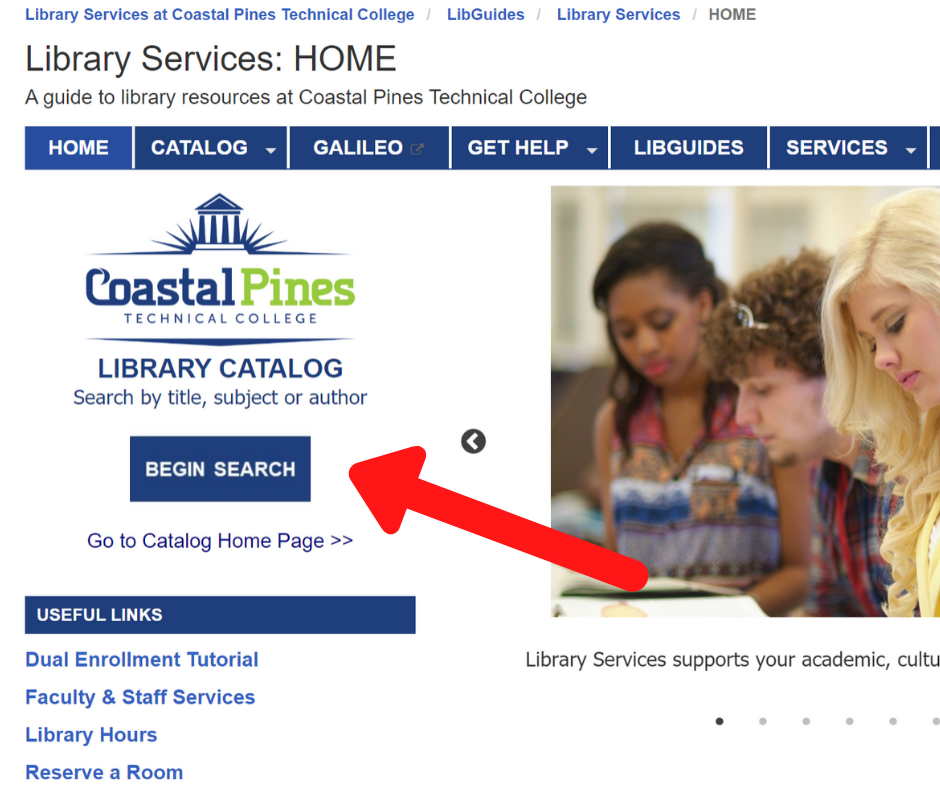 Screen shot of Library Services homepage with a red arrow pointing at the link to the online library catalog.