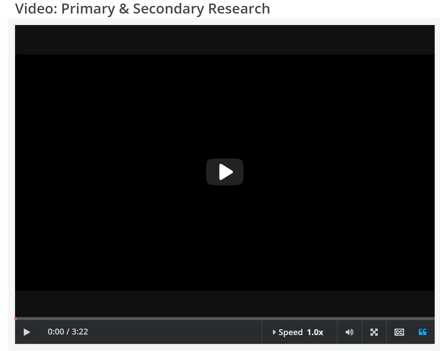 "CREDO InfoLit video, ""Primary & Secondary Research"" screenshot"