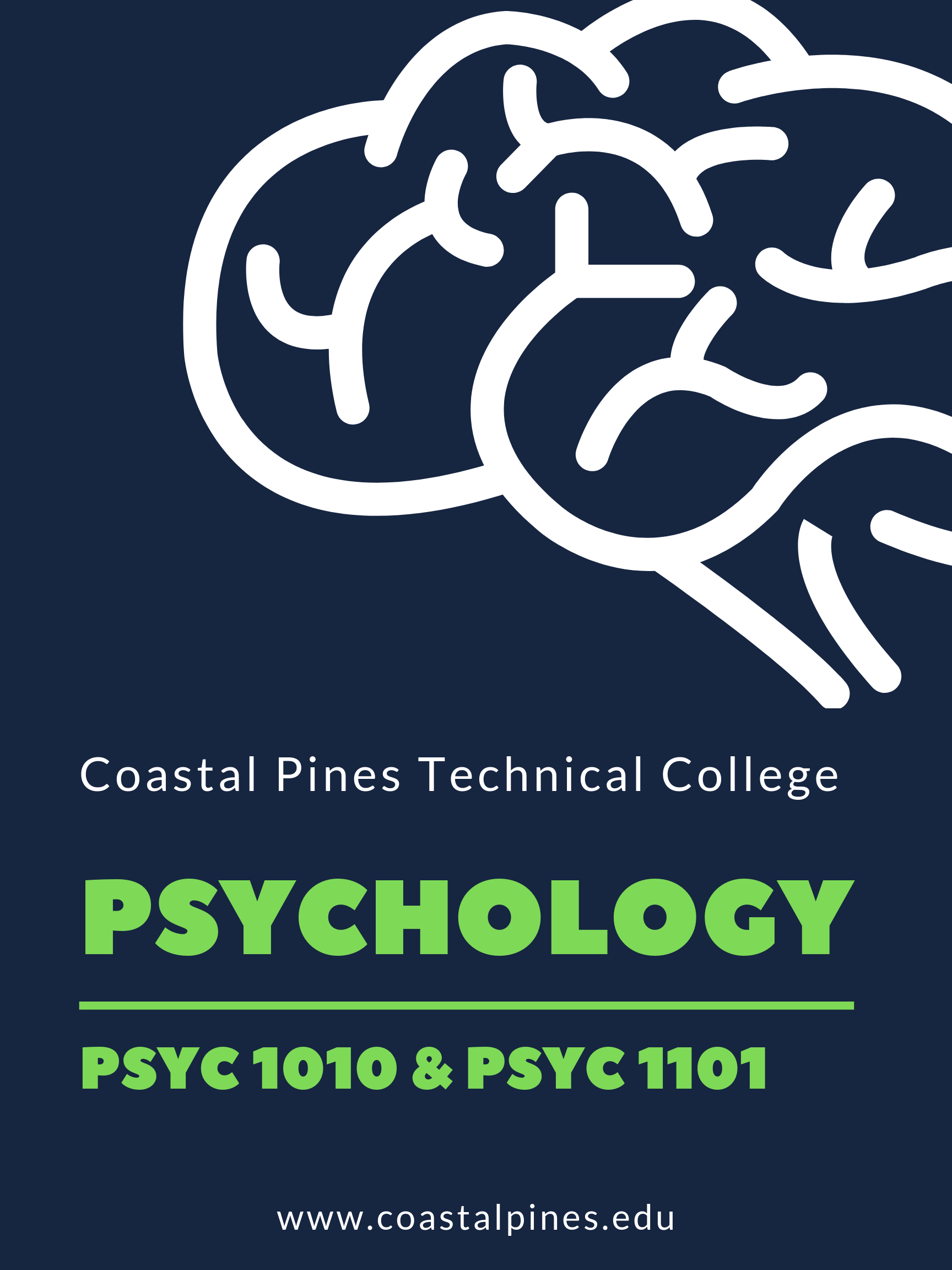 "Blue poster with white outline of a brain. States, ""Coastal Pines Technical College. Psychology. PSYC1010 & PSYC1101. www.coastalpines.edu."""