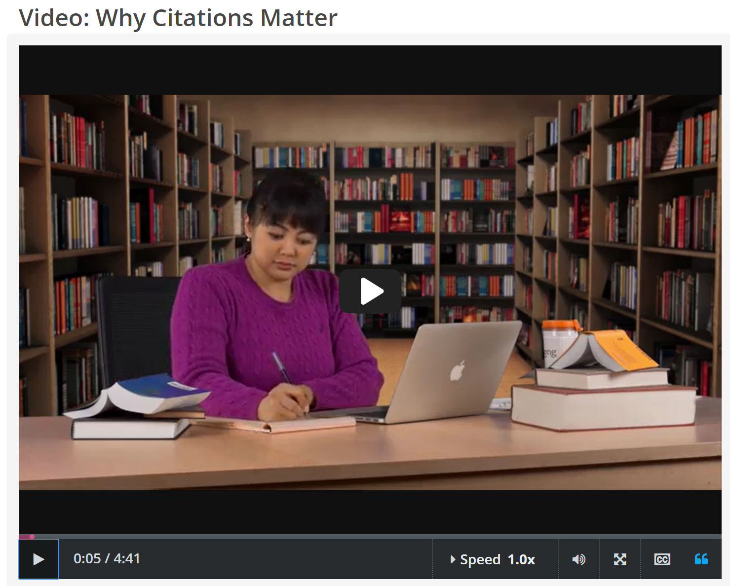"CREDO InfoLit video, ""Why Citations Matter"" screenshot"