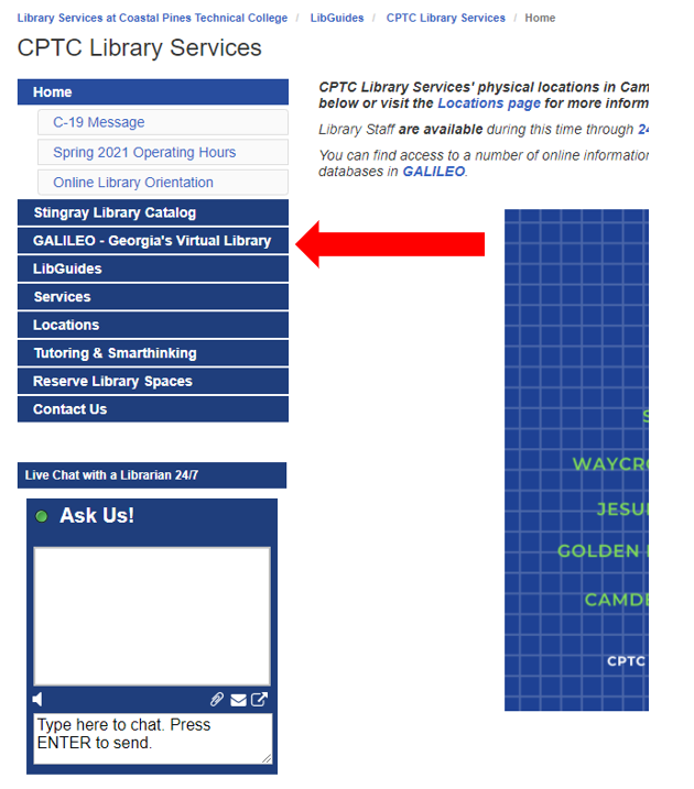 Screenshot of CPTC Library Services homepage with red arrow pointing to GALILEO - Georgia's Virtual Library tab