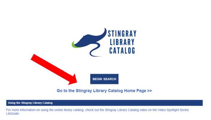 """Screenshot of the Stingray Library Catalog page of the CPTC Library Services website with a red arrow pointing towards the """"Go to the Stingray Library Catalog page"""" link"""