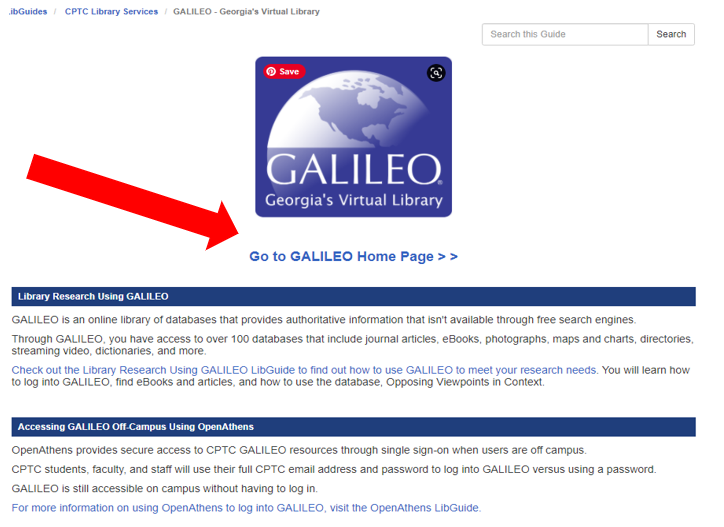 Screenshot of GALILEO tab on CPTC Library Services webpage with a red arrow pointing toward the GALILEO link