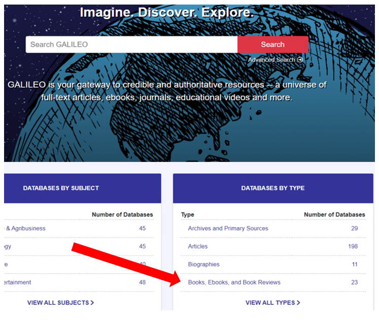 Screenshot of GALILEO homepage with red arrow pointing to Books, eBooks, and Book Reviews