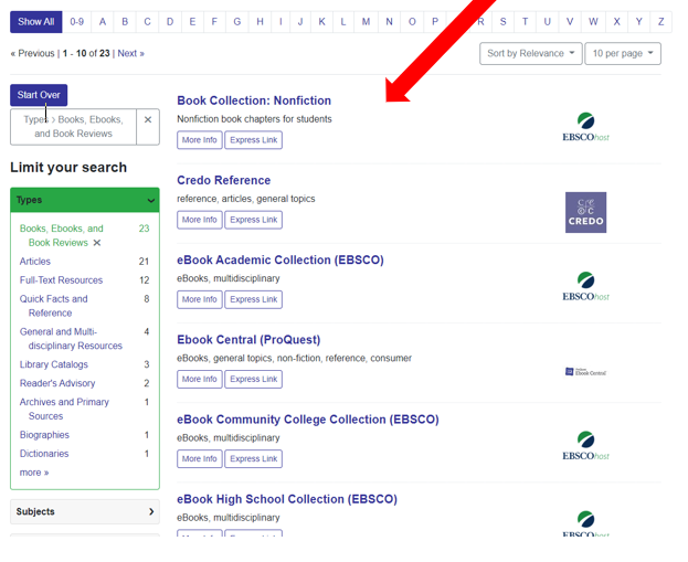 Screen shot of browse by type subpage, Books, E-Books, and Book Reviews with a red arrow pointing to the list of databases