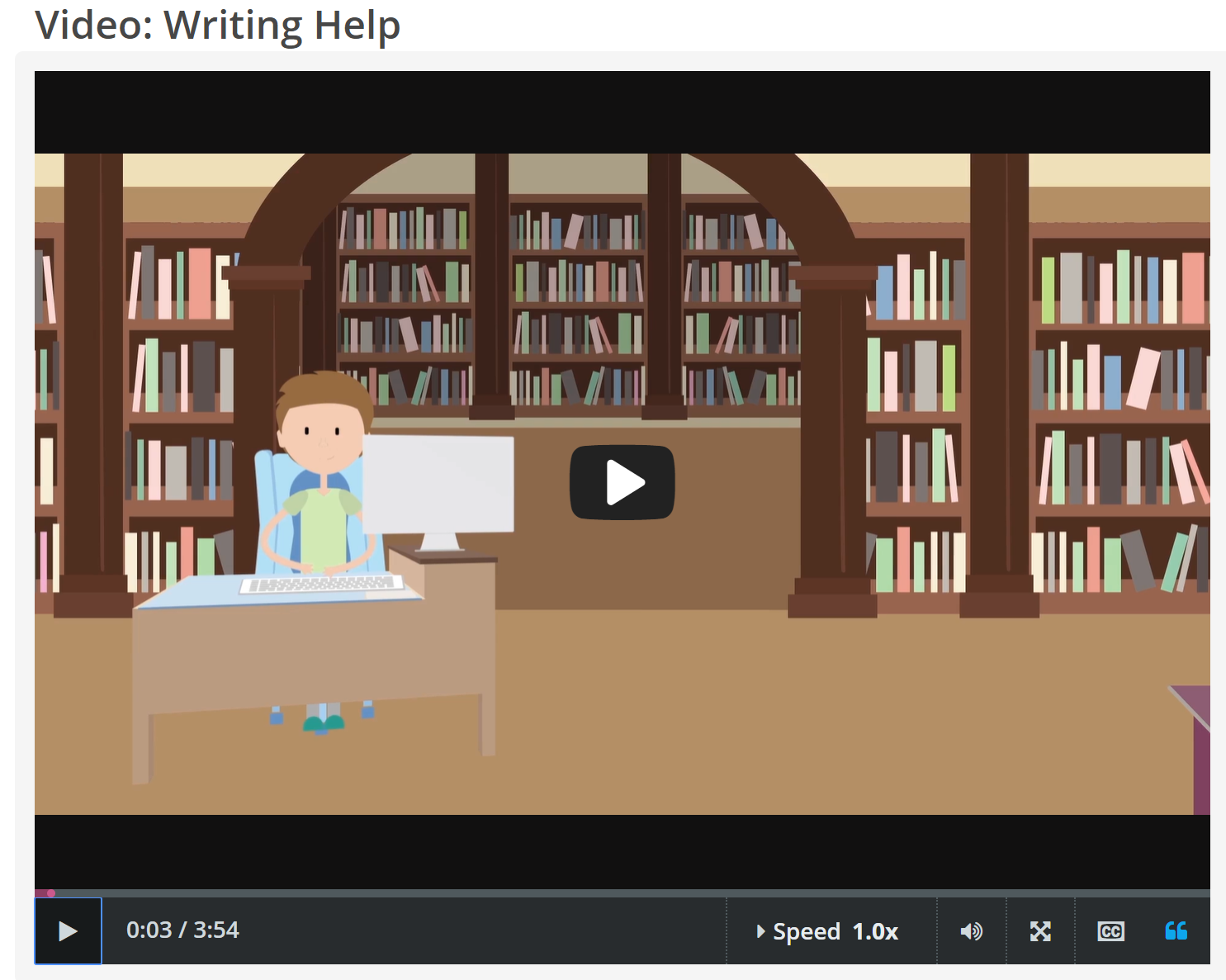 "CREDO InfoLit video, ""Writing Help"" screenshot"