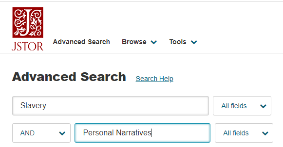 "Picture of JSTOR search box with the words ""slavery"" and ""personal narratives"" in two separate boxes"